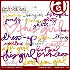 Love You Girl Brushes and Stamps - Photoshop Brushes DesignerDigitals