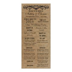 Rustic Typography Wedding Programs 2 Matrons Honor Full Color Rack Card