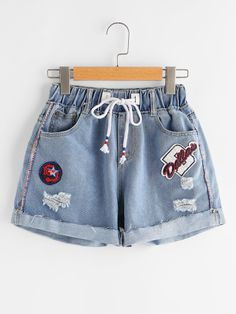 Shop Ripped Cuffed Denim Shorts With Embroidered Badges online. SheIn offers Rip… Shop Ripped Cuffed Denim Shorts With Embroidered Badges online. SheIn offers Ripped Cuffed Denim Shorts With Embroidered Badges & more to fit your fashionable needs. Crop Top Outfits, Hipster Outfits, Trendy Outfits, Summer Outfits, Girls Fashion Clothes, Teen Fashion Outfits, Tween Fashion, Girl Fashion, Fashion Blogs