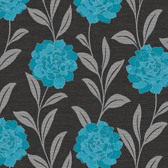 Blue / Silver / Black - 615105 - Evie - Motif - Arthouse Wallpaper | decor supplies 7.99 GBP    Blue / Silver / Black - 615105 - Evie - Motif - Arthouse Wallpaper     Pattern Number: 615105       Evie, a bold floral trail design on a subtle weave background.    Shown with diamond blue flower heads and metallic silver highlights, along with a silver leaf trail on a black background.