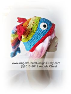 FISH HAT PDF Crochet Tutorial Pattern Something is Fishy Slouch Hat Unisex Prop Sizes 2T to Adult by AngelsChest  Pattern No. 26. $8.99, via Etsy.