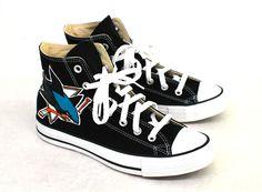 Black Converse Chuck Taylor - San Jose Sharks - B Street Shoes Custom Converse, Custom Shoes, Shark Logo, San Jose Sharks, Black Converse, Hand Painted Shoes, Black Canvas, Types Of Shoes, Beautiful Shoes