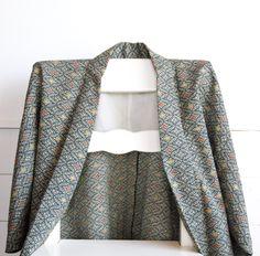 Green Kimono Jacket Haori,Japanese Vintage Dougi,Fall Jacket,Transitional…