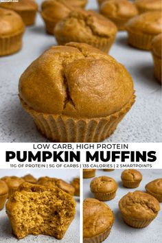 The Easiest Low Carb Pumpkin Protein Muffins Recipe If you're in need of low carb breakfast or snack ideas, you'll love these pumpkin protein muffins. They're super easy to make and have just 3 net carbs each! Low Carb Desserts, Low Carb Recipes, Low Carb Muffin Recipe, Dairy Recipes, Protein Recipes, Health Muffin Recipes, Protein Powder Recipes, Paleo Dairy, Smoothie Recipes