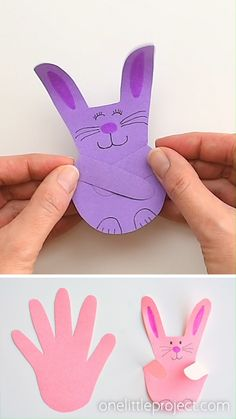 These handprint bunnies are SO CUTE and they're so easy to make! This is such a simple construction paper craft … Easy Easter Crafts, Spring Crafts For Kids, Bunny Crafts, Paper Crafts For Kids, Easy Crafts For Kids, Summer Crafts, Paper Easter Crafts, Simple Paper Crafts, Simple Origami For Kids