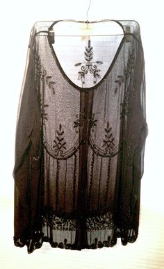 Vintage Black Blouse Sheer Beaded Embroidered Sequins -Very Downton Abbey Victorian Edwardian, by BelleJewelNoir, $58.00