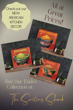 New Kitchen Decor! - How to apply makeup - American Kitchen Prints, Kitchen Art, New Kitchen, Mexican Kitchen Decor, Mexican Kitchens, Mexican Appetizers, Mexican Food Recipes, Latin Decor, Caribbean Recipes