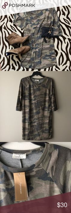 NWT Crew Neck camo dress Camo crew neck dress. Really soft and cotton material. Size small. Francesca's Collections Dresses