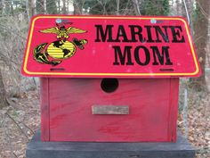 Marines Mom License Plate Birdhouse Red Fully by birdhouseaccents, $25.00