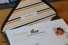 Modern graphic baby announcement card seen on Oh So Beautiful Paper