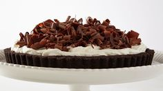 You can make the chocolate-wafer crust and custardy chocolate filling up to a day in advance. Spread with whipped cream and garnish with chocolate curls just before serving. Martha made this recipe on episode 613 of Martha Bakes.