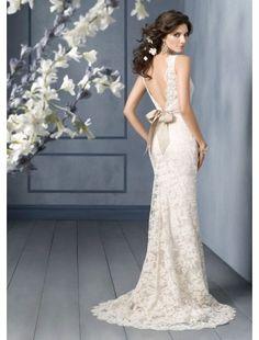 Trumpet/ Mermaid Scoop Lace Wedding Dress