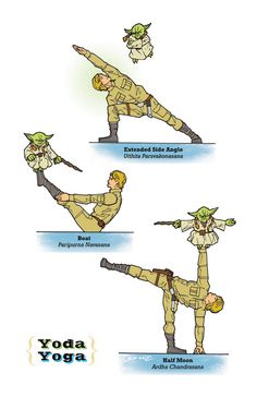 R2D2 ferait-il un bon coach de yoga ? Rob OSBORNE ne se pose pas la question. Leia, Luke, Yoda, Boba et C-3PO s'amusent comme des fous.Changez votre vision de la pratique du yoga. Et les Gee…