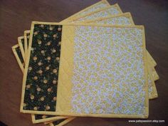 Green and Yellow Quilted Floral Placemats  by PatsPassionQuilteds, $54.00