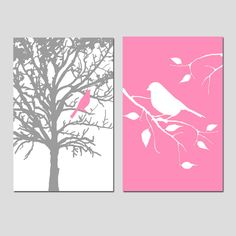 This set consists of two 13x19 prints: Bird in a Tree and Bird on a Branch. Perfect to spruce up your bathroom, kitchen... even your nursery! Customize in the colors of your choice. Want a different size? Just ask!  This set is shown in Gray, Yellow, Orange, Pink, and Black/Yellow, but I can do it in any colors you want! Please specify which colors you would like upon purchase in the note to seller section upon purchase. Each piece is freshly printed to order on Ultra Premium Luster…
