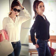 New Women Slim OL Long Sleeve Chiffon Top Splice Collar Shirt Button Down Blouse #Unbranded #Blouse