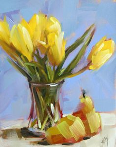 Yellow Tulips and Pears original still life floral fruit oil painting by Angela Moulton