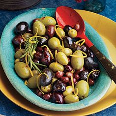 Top-Rated Holiday Appetizers | Warm Lemon-Rosemary Olives | SouthernLiving.com