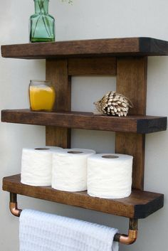 This wooden shelf would look very beautiful in my guest bathroom. Rustic Bathroom Shelves (sponsored)