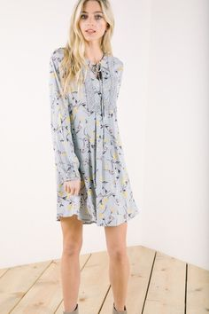 The Timeless Floral Tunic Dress in Sky