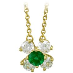 Pre-owned Tiffany & Co. Emerald Diamond Gold Pendant on Necklace (€2.875) ❤ liked on Polyvore featuring jewelry, necklaces, drop necklaces, gold pendant, diamond drop necklace, diamond chain necklace, 18k gold pendant and pendants & necklaces