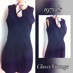 1970's sheath dress. Navy blue and nicely fitted dress. Textured polyester - sleeveless - back zipper - and nicely tailored . Tag size 9. Bust  38, waist 30,hips 39 and length 34 inches Vintage Dresses