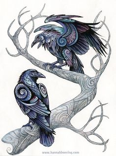 """""""Odin's ravens. Mixed media (ink, watercolor, colored pencil on paper) , 24x32 cm 