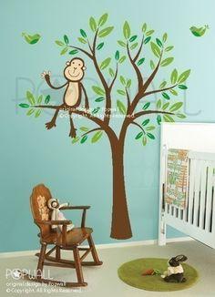 Art Wall Decals Wall Sticker Tree Decal- Monkey Sitting on a Flower Tree Nursery decal - 085. $68.00, via Etsy.