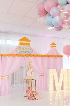 The Event Rental Company's Birthday / Circus / Carnival - Photo Gallery at Catch My Party Carnival Party Foods, Circus Carnival Party, Circus Theme Party, Girls Birthday Party Themes, Carnival Birthday Parties, Circus Birthday, Girl Birthday, Shabby Chic Cakes, Circus Cakes