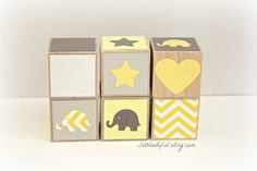 Yellow and Gray Baby Shower Gift- Wooden Block Toys- Yellow and Grey Nursery Decor-Elephant Birthday Gift-Children's Toys