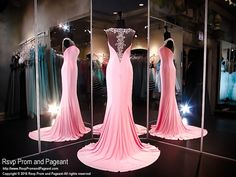 Pink Jersey Formfitting Evening Gown-High Beaded Illusion Neckline and Back-116XCT0306390