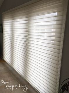 HunterDouglas motorized silhouette shade by Tempting Interiors Smart Home Motorization Shades for french doors Window treatment