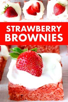 Strawberry Brownies are a thick, chewy bar cookie, positively bursting with strawberry flavor thanks to one very special secret ingredient! Rest assured, these beautiful dessert bars are still easy to make and totally worth the extra 5 minutes. Top them off with a sweet and tangy cream cheese glaze and sliced strawberries for a delicious dessert perfect for wooing your Valentine or serving at any springtime event! #strawberrybrownies #brownies #valentinesday #springdesserts #dessert…