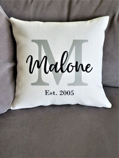 Personalized Last Name Est. Pillow Cover Modern Farmhouse Family Name Linen Initial Customized Wedding Gift Anniversary Housewarming by RufflesAndPixieDust Handmade Pillow Covers, Custom Pillow Cases, Handmade Pillows, Diy Pillows, Custom Pillows, Throw Pillow Covers, Pillow Ideas, Decorative Pillows, Cushion Covers