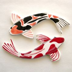 New Koi ceramic mosaic tiles. (Unloading the kiln is SO MUCH FUN!)