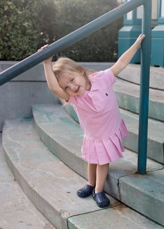 A perfect outfit for preschool! Ahhh love this toddler girl Polo dress and navy Crocs! #ZapposStyle