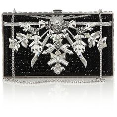 Judith Leiber Swarovski Crystal Snowflake Clutch ($4,830) ❤ liked on Polyvore featuring bags, handbags, clutches, purses, apparel & accessories, silver jet, black handbags, metallic handbags, clasp purse and black clutches