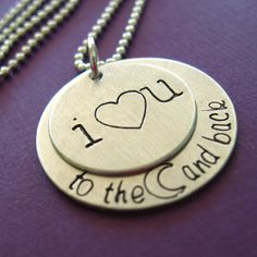 I Love You To the Moon and Back Necklace - hand stamped in aluminum, copper or brass. $18.00, via Etsy.