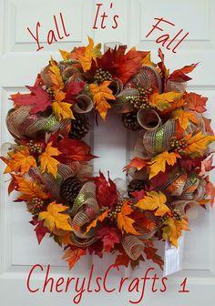 Fall,Fall Mesh Wreath,Fall Wreath,Fall Grapevine Wreath,Thanksgiving Door/Wall Decor,Fall Wall/Door Decor by CherylsCrafts1 on Etsy