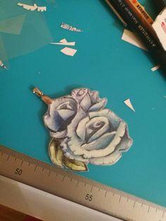 Pendente fiori rosa, Ilaria Bicchi, dipinto a mano, pezzo unico.