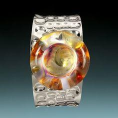 Beautiful hammered silver & hand blown borosilicate glass! an original accessoreez.com creation!