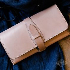 Handmade leather wallet purse by DoubleCL on Etsy