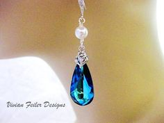 blue wedding earrings Pearl peacock Bridal Bridesmaid Cubic Zirconia Wedding Jewelry Prom Etsy