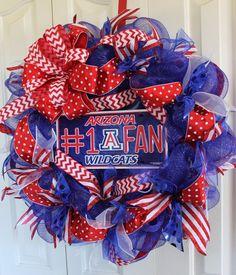 University of Arizona Deco mesh wreath. Football Crafts, Football Wreath, Arizona Wildcats, University Of Arizona, U Of Arizona, Sports Wreaths, Wreath Forms, Deco Mesh Wreaths, Classroom Themes