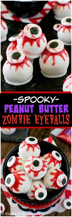 Peanut Butter Zombie Eyeballs - candy eyes and oozing red gel frosting give these no bake treats a spooky flair. Great recipe for Halloween parties! (Diy Halloween Desserts)