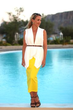 Bright yellow midi skirt with my beloved white vest <3 ...