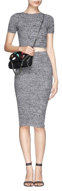 Alice + Olivia Gray Solange Wool Herringbone Crop Top Sweater With Knit Skirt Dress - Tradesy