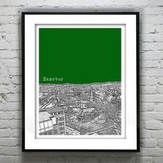 Hanover New Hampshire Skyline Poster Print Art by AnInspiredImage,