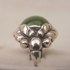 Georg Jensen. Design no. 11 B. Sterling silver and green agate ring, c. 1965. View 2.