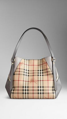 Small Haymarket Check and Leather Tote Bag | Burberry